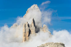 Tre Cime Lavaredo Mountains. The summit peak of Tre Cime Lavaredo in Dolomites Mountains Royalty Free Stock Images