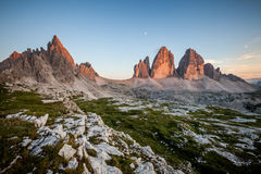 Tre Cime and Monte Paterno at sunset Stock Photography