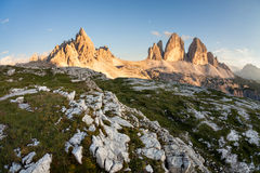 Tre Cime and Monte Paterno at sunset Royalty Free Stock Photo