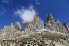 Tre Cime peaks with a little cloud Royalty Free Stock Photos