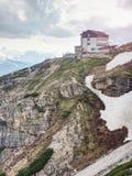 Tre Cime-reis, alpiene hut Nationaal Park Tre Cime di Lavaredo Stock Foto