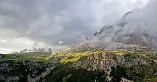 Tre Cime Shrouded in Clouds Stock Images