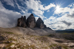 Tre Cime at sunny day Stock Image