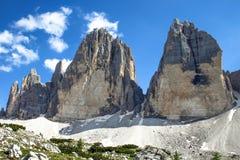Tre Cime Three Peaks di Lavaredo Drei Zinnen, é três dos picos os mais famosos das dolomites, em Sesto Dolomites, ele Fotografia de Stock