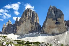 Tre Cime Three Peaks di Lavaredo Drei Zinnen, is drie van de beroemdste pieken van het Dolomiet, in Sesto Dolomites, het Stock Fotografie