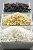 Tre ciotole di riso Fotografia Stock
