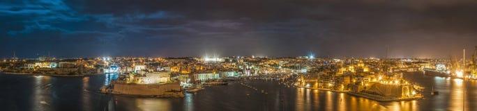 Tre città come visto da La Valletta, Malta Immagini Stock Libere da Diritti