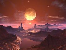 Tre città torreggiate su futuristiche con la luna a Sunse royalty illustrazione gratis