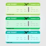Tre classi di verde in bianco del passaggio di imbarco di volo Fotografia Stock Libera da Diritti