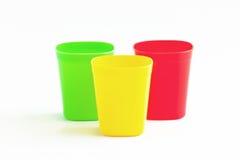 Tre colore della tazza tre. Fotografia Stock Libera da Diritti
