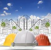A tre colori del casco protettivo della costruzione di sicurezza sulle sedere bianche fotografia stock libera da diritti