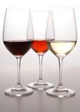 Tre colori di vino fotografia stock libera da diritti