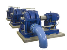 Tre compressori industriali in una fila Fotografia Stock Libera da Diritti