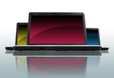 Tre computer portatili Fotografia Stock Libera da Diritti
