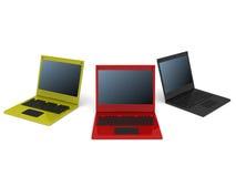 Tre computer portatili Fotografie Stock Libere da Diritti