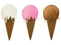 Tre coni di gelato Fotografia Stock
