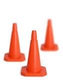 Tre coni di traffico Immagini Stock