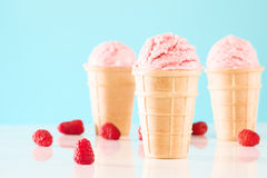 Tre coni gelati del lampone Fotografie Stock Libere da Diritti