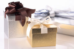 Tre contenitori di regalo Fotografia Stock Libera da Diritti