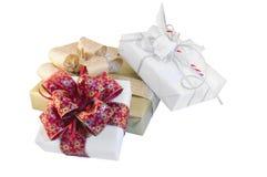 Tre contenitori di regalo fotografie stock libere da diritti