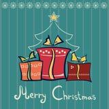 Tre contenitori di regalo di Natale Fotografia Stock Libera da Diritti