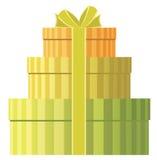 Tre contenitori di regalo rotondi Fotografie Stock