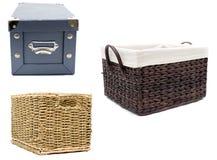 Tre contenitori domestici Fotografie Stock