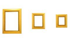Tre cornici dell'oro Fotografie Stock Libere da Diritti