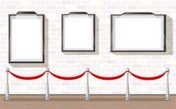 Tre cornici vuote con l'illustrazione del fondo di mostra del museo del sostegno Fotografia Stock