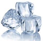 Tre cubi di ghiaccio Fotografia Stock Libera da Diritti