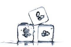Tre cubi di ghiaccio di fusione immagini stock libere da diritti