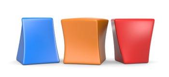 Tre cubi divertenti in bianco variopinti illustrazione di stock