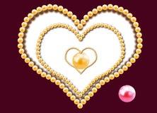 Tre cuori dalle perle Fotografia Stock