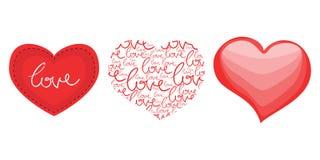 Tre cuori di amore per il giorno di biglietti di S. Valentino Immagine Stock
