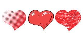 Tre cuori di Pop art per il giorno di biglietti di S. Valentino Immagini Stock Libere da Diritti