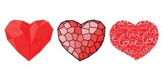 Tre cuori per il giorno di biglietti di S. Valentino Fotografia Stock Libera da Diritti