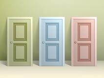 Tre dörrar på golvet Royaltyfri Bild
