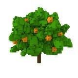 tre da laranja do voxel 3d Imagens de Stock Royalty Free