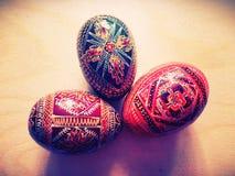 Tre dekorativa ägg Arkivbild