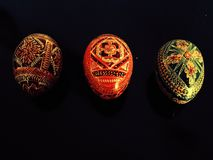 Tre dekorativa ägg Arkivbilder