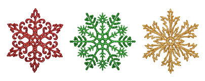 Tre dekorativa snöflingor Royaltyfria Bilder