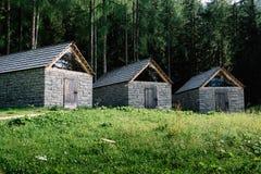 Tre di pietra e cottage di legno nella montagna Immagini Stock Libere da Diritti