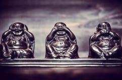 Tre diagram av Buddah filosofi Arkivbilder