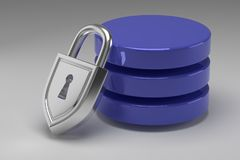 Tre dischi blu in pila e lucchetto d'acciaio bloccato Dati o base di dati nell'ambito di protezione Concetto di protezione dei da immagini stock