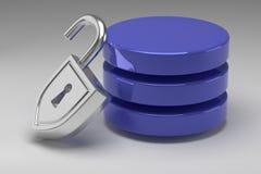 Tre dischi blu in pila e lucchetto d'acciaio sbloccato Access ha assegnato ai dati o alla base di dati Concetto di protezione dei fotografie stock