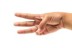 Tre dito e mano contano il numero tre su fondo bianco isolato Fotografie Stock Libere da Diritti