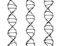 Tre DNAspiral på en vit bakgrund stock illustrationer