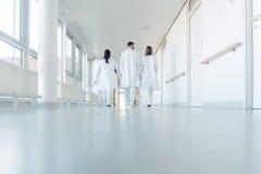 Tre doktorer som g?r ner en korridor i sjukhus royaltyfri bild