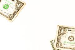Tre dollari degli S.U.A. posti sopra bianco Fotografia Stock Libera da Diritti