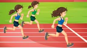 Tre donne che corrono nella pista illustrazione vettoriale